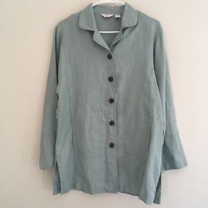 J Jill linen button front jacket tunic S